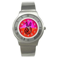 Love Peace Stainless Steel Watch (Slim)