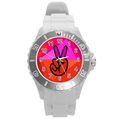 Love Peace Plastic Sport Watch (Large)