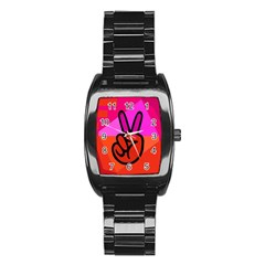 Love Peace Stainless Steel Barrel Watch