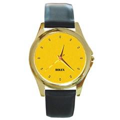 Imitation Rolex Round Leather Watch (gold Rim)
