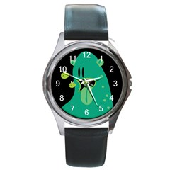 Monster Round Leather Watch (silver Rim)