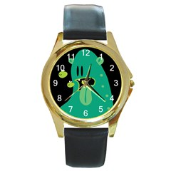 Monster Round Leather Watch (Gold Rim)