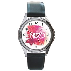 Nero ! Watch Round Leather Watch (Silver Rim)