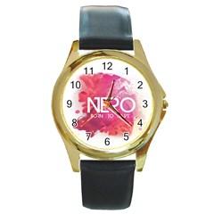 Nero ! Watch Round Leather Watch (gold Rim)