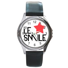 Le. Smile Round Leather Watch (Silver Rim)