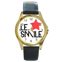 Le. Smile Round Leather Watch (Gold Rim)