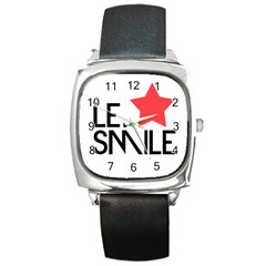 Le. Smile Square Leather Watch