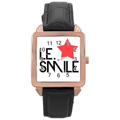 Le. Smile Rose Gold Leather Watch