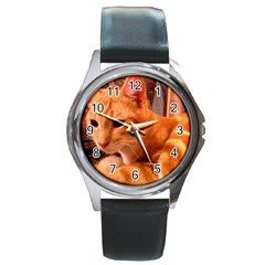 Liam The Beaut Round Leather Watch (Silver Rim)