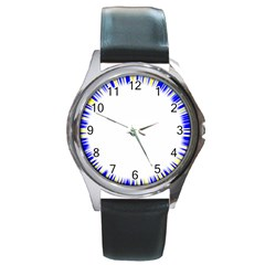Color Chill Round Leather Watch (Silver Rim)