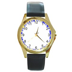 Color Chill Round Leather Watch (gold Rim)