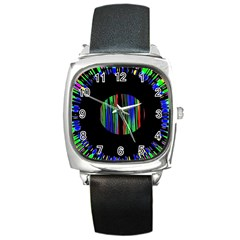 Black Chill O Square Leather Watch