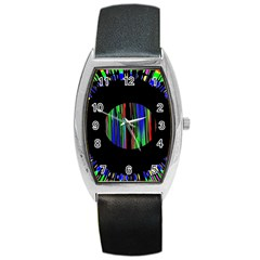Black Chill O Tonneau Leather Watch