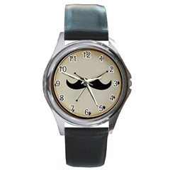 my style Round Leather Watch (Silver Rim)