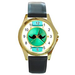 My Style Round Leather Watch (gold Rim)