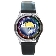 Fishing Dead Round Leather Watch (Silver Rim)