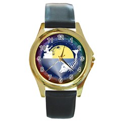 Fishing Dead Round Leather Watch (gold Rim)
