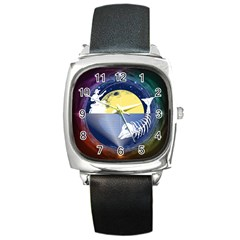 Fishing Dead Square Leather Watch