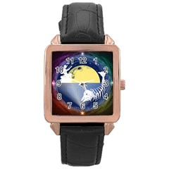 Fishing Dead Rose Gold Leather Watch