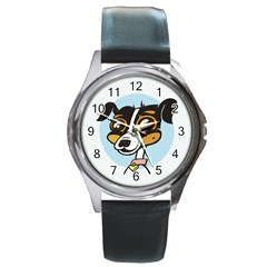 Danny Dog Round Leather Watch (silver Rim)