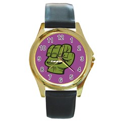 Hulk Smash Round Leather Watch (Gold Rim)