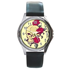 Skeleton Round Leather Watch (silver Rim)