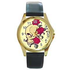 Skeleton Round Leather Watch (gold Rim)