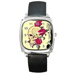 skeleton Square Leather Watch
