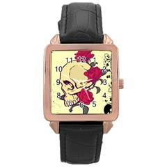 skeleton Rose Gold Leather Watch