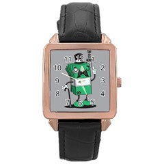 Don t Waste Your Time    Rose Gold Leather Watch