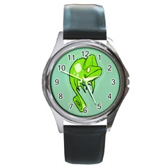Lucky Lizard Round Leather Watch (Silver Rim)