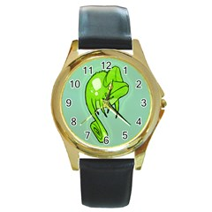 Lucky Lizard Round Leather Watch (Gold Rim)