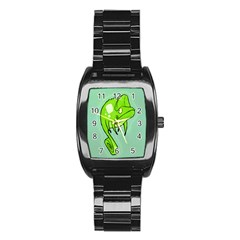 Lucky Lizard Stainless Steel Barrel Watch