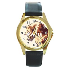 Bear Time Round Leather Watch (gold Rim)