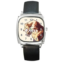 Bear Time Square Leather Watch
