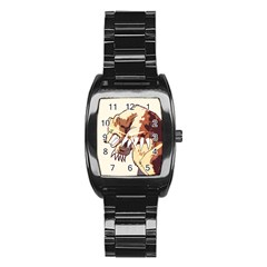 Bear Time Stainless Steel Barrel Watch