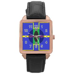 Geometrical Rose Gold Leather Watch