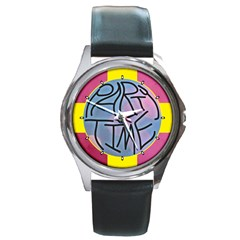 Party Time Round Leather Watch (Silver Rim)