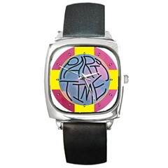 Party Time Square Leather Watch