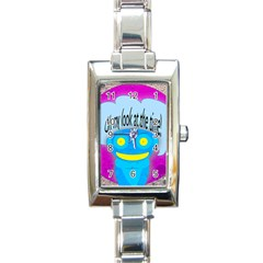 Oh my look at the time! Rectangular Italian Charm Watch
