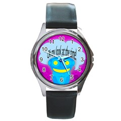 Oh My Look At The Time! Round Leather Watch (silver Rim)