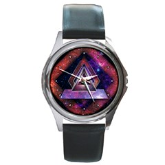 Galaxy Time Round Leather Watch (Silver Rim)