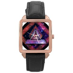 Galaxy Time Rose Gold Leather Watch
