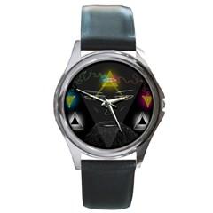 Wizard Round Leather Watch (Silver Rim)