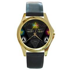 Wizard Round Leather Watch (gold Rim)