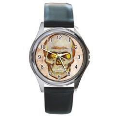 Warm Skull Round Leather Watch (Silver Rim)