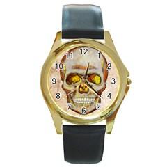Warm Skull Round Leather Watch (Gold Rim)