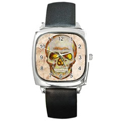 Warm Skull Square Leather Watch