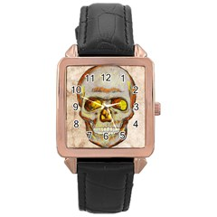 Warm Skull Rose Gold Leather Watch