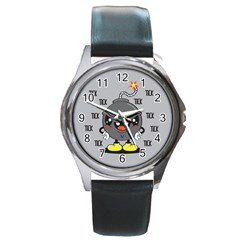 Time Bomb Round Leather Watch (silver Rim)